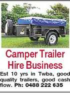 Camper Trailer Hire Business Est 10 yrs in Twba, good quality trailers, good cash flow. Ph: 0488 222 635