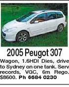 2005 Peugot 307 Wagon, 1.6HDI Dies, drive to Sydney on one tank. Serv records, VGC, 6m Rego. $8600. Ph 6684 0230