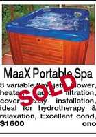 MaaX Portable Spa D SOL 8 variable flow jets, blower, heater, auto filtration, cover, easy installation, ideal for hydrotherapy & relaxation, Excellent cond, $1600 ono