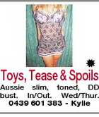 Toys, Tease & Spoils Aussie slim, toned, DD bust. In/Out. Wed/Thur. 0439 601 383 - Kylie