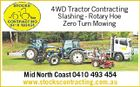 4WD Tractor Contracting Slashing - Rotary Hoe Zero Turn Mowing Mid North Coast 0410 493 454 www.stockscontracting.com.au