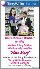 "BABY BUNDLE WINNER for May Matthew & Amy Pattison with their baby daughter ""Alice Mary"" Winner of the Baby Bundle from Terry White Chemist Clifford Gardens for the month of May. 5265092aaHC"