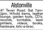 Alstonville 47 Teven Road. Sat 7am2pm. H/hold items, leather lounge, garden tools, CD's, records, turntable, laser printers, videos, books, hardware, bric-a-brac.