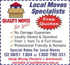 Local Moves Specialists Free Quotes  No Damage Guarantee  Locally Owned & Operated  From 1 Item To A Full House  Professional Friendly & Reliable Special Rates For Local Moves 02 6651 1304 or 1300 790 331 Handy Moving Checklist + testimonials availiable at qualitymoves.com.au