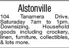 Alstonville 104 Tanamera Drive. Saturaday 7am to 1pm. Downsizing. Household goods including crockery, linen, furniture, collectibles, & lots more.