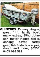 QUINTREX Estuary Angler, great 14ft, family boat, many extras, 35hp Johnson motor Redco trailer, canopy, cover, saftey gear, fish finda, tow ropes, donut and more, $8250. 0403 026 592
