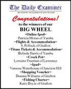 Congratulations! to the winners of our BIG WHEEL Online Ipod Patricia Moran of Yamba Flights & Accommodation S. Pollock of Grafton Titans Tickets & Accommodation Belinda Harris of Yamba Crock Pot Lorraine Freeman of Lawrence Ipad Vanessa Waterhouse of Junction Hill Shopping Voucher Deanna Williams of Grafton Fishing Charter Katie Doyle of Grafton