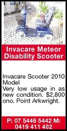 Invacare Meteor Disability Scooter Invacare Scooter 2010 Model Very low usage in as new condition. $2,800 ono. Point Arkwright. P: 07 5446 5442 M: 0419 411 402