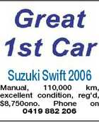 Suzuki Swift 2006 Manual, 110,000 km, excellent condition, reg'd, $8,750ono. Phone on 0419 882 206