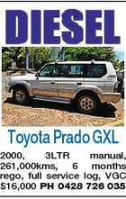 Toyota Prado GXL 2000, 3LTR manual, 261,000kms, 6 months rego, full service log, VGC $16,000 PH 0428 726 035