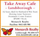 Take Away Cafe - Landsborough - 3x3 Lease, Ideal for Husband & Wife Team Showing Great Turnover, Prominent Corner Position $70,000 +Stock Monarch Realty Pauline 0411 651 991