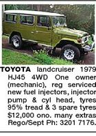 TOYOTA landcruiser 1979 HJ45 4WD One owner (mechanic), reg serviced new fuel injectors, injector pump & cyl head, tyres 95% tread & 3 spare tyres $12,000 ono. many extras Rego/Sept Ph: 3201 7176.