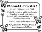BEVERLEY ANN PRATT 07041946 to 19062003 We hold you close within our hearts, We always speak your name, So walk with us throughout our lives, Until we meet again. Always loved and remembered. Ken, Michelle, Joanne, David & your six grandchildren.