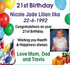 21st Birthday Nicole Jade Lilian Ilka 22-6-1992 Congratulations on your 21st Birthday. Wishing you Health & Happiness always. Love Mum, Dad and Travis