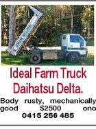 Ideal Farm Truck Daihatsu Delta. Body rusty, mechanically good $2500 ono 0415 256 485