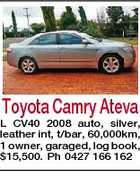Toyota Camry Ateva L CV40 2008 auto, silver, leather int, t/bar, 60,000km, 1 owner, garaged, log book, $15,500. Ph 0427 166 162