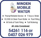 Prompt Reliable Service  7 Days a Week  10,200 Ltr Clean Town Water  Pool Filling  All Sorts of Tank Filling  Turf Watering All Jobs Considered 54261 116 or 0407 026 979