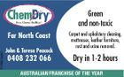 5193623aaHC Green and non-toxic Far North Coast John & Teresa Peacock 0408 232 066 Carpet and upholstery cleaning, mattresses, leather furniture, rust and urine removal. Dry in 1-2 hours AUSTRALIAN FRANCHISE OF THE YEAR