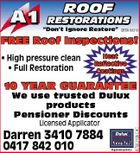 "ROOF RESTORATIONS ""Don't Ignore Restore"" QBSA 68310 FREE Roof Inspections! * High pressure clean * Full Restoration Heat Reflective Coatings 10 YEAR GUARANTEE Licensed Applicator Darren 3410 7884 0417 842 010 4750318ACHC We use trusted Dulux products Pensioner Discounts"