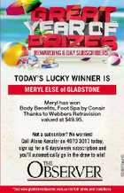 MERYL ELSE of GLADSTONE Meryl has won Body Benefits, Foot Spa by Conair Thanks to Webbers Retravision valued at $49.95.