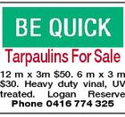Tarpaulins For Sale 12 m x 3m $50. 6 m x 3 m $30. Heavy duty vinal, UV treated. Logan Reserve Phone 0416 774 325