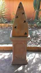 TERRACOTTA GARDEN ORNAMENT, 2 PARTS, HAS CUT OUT STARS ON SIDE, CAN PUT LIGHT INSIDE. STANDS APPROX 1.4 METRES HIGH, $90 lot MARYBOROUGH. M: 0409 874 498 E: julieborder24@bigpond.com