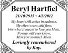 Beryl Hartfiel 21/10/1915  4/3/2012 My heart still aches in sadness, My silent tears still flow, For what it meant to lose you Mum, No one will ever know, Miss you so much Mum. Lovingly remembered by Kay.