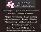 Knowledgeable garden care & maintenance Living & Working In Maleny * Storm Damage Clean Up Tony & Jennie 0413 751 185 bauhiniagardenscapes@gmail.com 5481866aahc * Expert Rose Pruning * Hedge Trimming * Garden Renovation * Planting * Mulching * Lawn Mowing * Garden Waste Removal