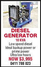 DIESEL GENERATOR 10 KVA Low speed diesel Ideal backup power or prime power Ultra low hours NOW $3,995 0411 788 023