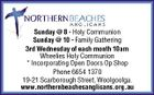 Sunday @ 8 - Holy Communion Sunday @ 10 - Family Gathering 3rd Wednesday of each month 10am Wheelies Holy Communion * Incorporating Open Doors Op Shop Phone 6654 1370 19-21 Scarborough Street, Woolgoolga. www.northernbeachesanglicans.org.au