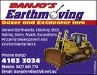 Dozer and Excavator Hire General Earthworks, Clearing, Stick Raking, Dams, Roads, Excavations. Property Development And Environmental Work. 4163 3034 Mobile: 0427 645 774 Email: banjolyn@activ8.net.au 5154893aa Phone Banjo