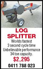LOG SPLITTER Worlds fastest 3 second cycle time Unbelievable performance 34 ton capacity. $2,295 0411 788 023