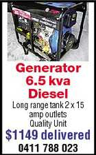 Generator 6.5 kva Diesel Long range tank 2 x 15 amp outlets Quality Unit $1149 delivered 0411 788 023