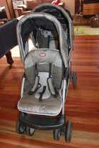 Valco DoubleTake Tandem Pram, great used condition, ideal for baby and toddler - both up high, comes with canopies and detachable front tray, compact when folded, fits nicely through doors, huge basket underneath, manual included. 150 lot0438 130 727