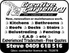 New, renovation or maintenance work.  Kitchens  Bathrooms   Roofs  Decks  Stairs   Balustrading  Fencing   C.A.D  etc  Experienced Tradesmen - Free Quotes Steve 0409 618 516 Qbcc contractor licence no. 702878