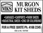 MURGON MKS KIT SHEDS FOR A FREE QUOTE Ph. 4168 2245 BSA Lic No. 1057058 5154966aa *GARAGES *CARPORTS *FARM SHEDS *INDUSTRIAL SHEDS *ZINC OR COLORBOND
