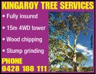 KINGAROY TREE SERVICES * Fully insured * Wood chipping * Stump grinding PHONE 0428 188 111 5133376aa * 15m 4WD tower