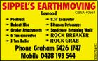 SIPPEL'S EARTHMOVING QBSA 40561 Phone Graham 5426 1747 Mobile 0428 193 544 5092670abHC Lowood  Positrack  8.5T Excavator  Bobcat Hire  Bitumen Driveways  Grader Attachments  Sandstone Retaining Walls  Rock Breaker  6 Ton excavator  Rock Grab  3 Ton Roller