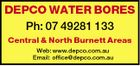 DEPCO WATER BORES Ph: 07 49281 133 Central & North Burnett Areas Web: www.depco.com.au Email: office@depco.com.au