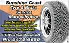 Sunshine Coast st Tyre & Brake Service Maroochydore e 1/47 Wises Road, Maroochydore ises Road, Maroochydore Ph. 5479 6655 5 5613418aa Lube Service from $120 Free Front Wheel Alignment with any four tyres sold!