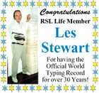 Congratulations RSL Life Member Les Stewart For having the Official World Typing Record for over 30 Years!