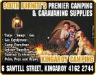 * Tarps * Swags * Gas * Gas Equipment * Camp Furniture * Leisure Supplies * Caravan Accessories * Poles, Pegs and Ropes 5166755aa South Burnett's Premier Camping & CARAVANING Supplies Kingaroy Camping 6 Sawtell Street, Kingaroy 4162 2744