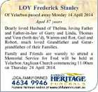 LOY Frederick Stanley Of Yelarbon passed away Monday 14 April 2014 Aged 87 years Dearly loved Husband of Thelma, loving Father and Father-in-law of Garry and Linda, Thomas and Vera (both dec'd), Warren and Ron, Gail and Robert, much loved Grandfather and Greatgrandfather of their Families. Family and Friends are warmly to attend a Memorial Service for Fred will be held at Yelarbon Anglican Church commencing 11.00am on Thursday 24 April 2014.