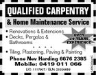 QUALIFIED CARPENTRY & Home Maintenance Service LIC: 1117907 / BLN: 20336858 5488046aaHC * Renovations & Extensions OVER * Decks, Pergolas & 30 YEARS EXPERIENCE Bathrooms * * * * * Tiling, Plastering, Paving & Painting Phone Nev Harding 6676 2385 Mobile: 0419 011 066