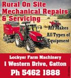 Rural On Site Mechanical Repairs & Servicing All Makes All Types of Equipment 1 Western Drive, Gatton Ph 5462 1888 5513020aa Lockyer Farm Machinery