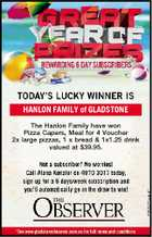 HANLON FAMILY of GLADSTONE The Hanlon Family have won Pizza Capers, Meal for 4 Voucher 2x large pizzas, 1 x bread & 1x1.25 drink valued at $39.95.
