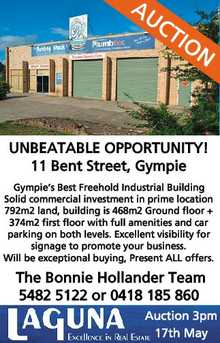 11 Bent Street, Gympie Stree Gympie Gympie's Best Freehold Industrial Building Gympie's Freehold Induststrial Building.  Solid commercial investment in prime location  792m2 land, building is 468m2 Ground floor +  374m2 first floor with full amenities and car parking on both levels. Excellent visibility for signage to promote your business. Will be exceptional buying, Present ALL offers.  The Bonnie Hollander Team Phone  5482 5122 or 0418 185 860 Auction 3pm Auc 17th May 7th