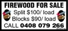 FIREWOOD FOR SALE Split $100/ load Blocks $90/ load CALL 0408 079 266 5633937aa