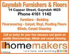 Gayndah Furnishers & Floors 14 Capper Street, Gayndah 4625 Phone 4161 1142 Furniture - Bedding Floorcovering - Carpet, Vinyl, Floating Floors Blinds, Carpet Cleaning Call us today for your free measure and quote on quality floorcoverings, blinds and carpet cleaning. 5158692aa