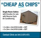 """CHEAP AS CHiPS"" Single Room Cabins with Ensuites for sale with Reverse Cycle Air Conditioning. *2 x (6m x 3m) @ $14,000 + GST 4 000 x (5m x 3m) @ $12,000 + GST Contact Chris on 0412 870 473 5555434aa *2"